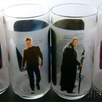 Star Trek Drinking Glasses Set 4 Burger King Spock Nero Kirk Uhura 2009 Made USA