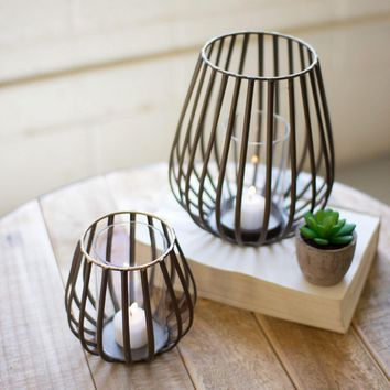 Tall Oval Metal Lanterns With Glass (Set of 2)