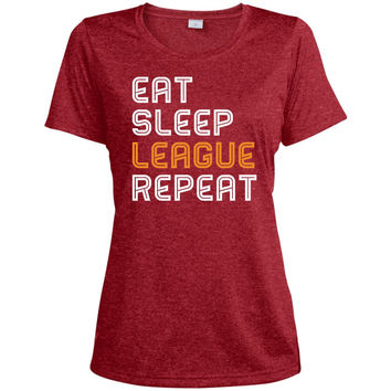LOL Eat Sleep League Repeat gaming T shirt 2016-01  LST360 Sport-Tek Ladies' Heather Dri-Fit Moisture-Wicking T-Shirt