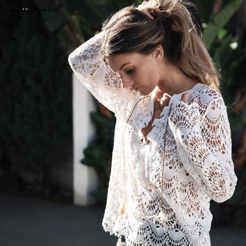 ♡ White Lace Blouse Shirt Long Sleeve Vintage ♡