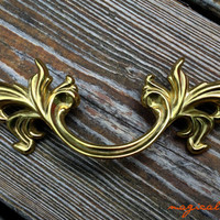French Provincial Gold Pull / Replica Restoration Hardware / Shiny Brass, Classic Design Drawer Handle