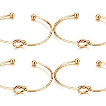 ANBALA Love Knot Bracelet Bridesmaid Gifts Bracelet Adjustable Tie The Knot Alloy Cuff Bangle Stretch Bracelet for Women Girls Pack of 4