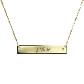 """j'adore"" Gold Bar Necklace"