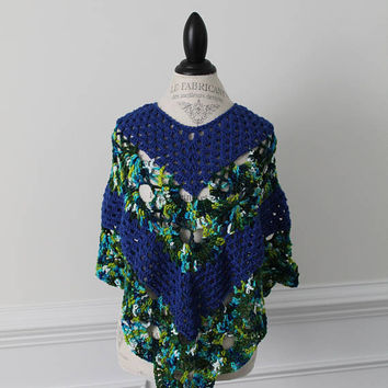 Women's Blue Poncho - Blue and Green Shawl - Wrap - Blue Sweater - Misses Wrap - Small Size - Blue Poncho - gift for her - Winter Fashion