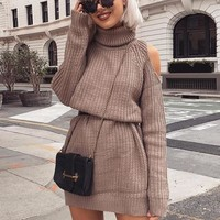 2018 Autumn Winter Off Shoulder Knitted Sweater Dress Casual Loose Female sweater Full Sleeve turtleneck sweater women Pullover
