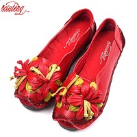 Xiuteng  National Wind Flowers Handmade Genuine Leather Shoes Women Retro Soft Bottom Flat Shoes Summer Canvas Ballet Flats