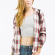 Light Plaid Flannel Jacket with Hood
