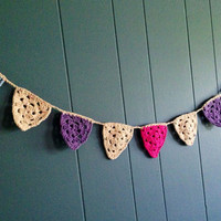 Crochet Baby Bunting  Flags  Pennants  blue purple by Parachet