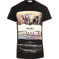 River Island MensBlack cities print short sleeve t-shirt