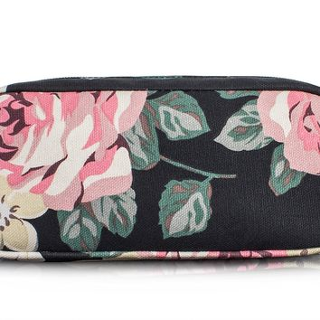 Floral Student Pen Pencil Case Coin Purse Pouch Cosmetic Makeup Bag by TOPERIN (Black)