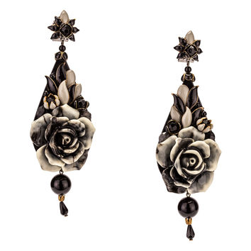 Black Enamel and Resin Flower Burst Pendant Earrings by DUBLOS