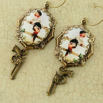 Brass Cowgirl Earrings Vintage Pinup Girl by ForTheCrossJewelry