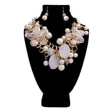 Chunky Chain with Clear Bead and Cream Pearl and Bead Necklace Set