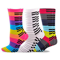 Piano Socks TeeHee Music Cotton Crew Socks for Women and Men 3-Pack