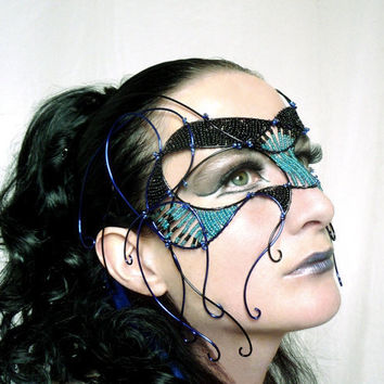 Black and blue cyber goth masquerade mask by gringrimaceandsqueak