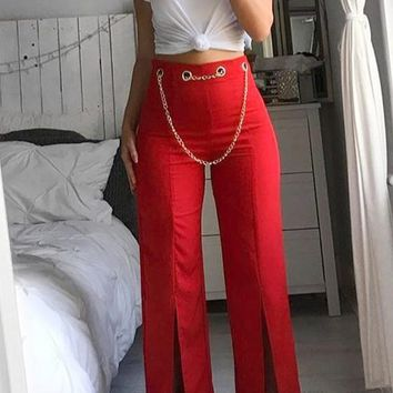 Red Chain Slit High Waisted Elegant Party Wide Leg Long Pants