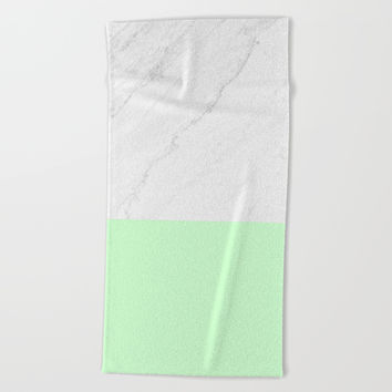 Marble And Mint Beach Towel by ARTbyJWP