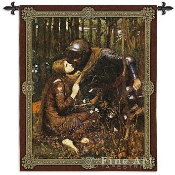 "La Belle Dame Sans Merci Medieval Arthur Knight Wall Tapesty Waterhouse 44""x53"""