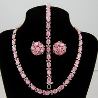 Vintage Trifari Pink Fruit Salad Necklace Bracelet Earrings