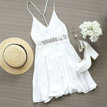 Chiffon waist Lace summer dress A489348