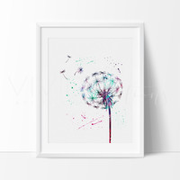 Dandelion Flower 2 Watercolor Art Print