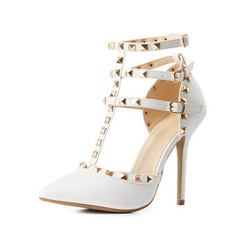 Studded Strappy Pointed Toe Pumps