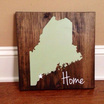 Pick Colors, Maine Wood Sign, Custom Maine State Sign, Stained and Hand Painted, Personalize, Maine decor