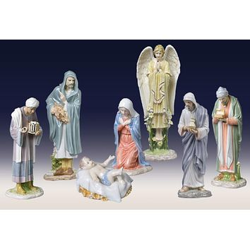 Set of 7 Nativity Group Religious Decorative Figurines, Pastel Color