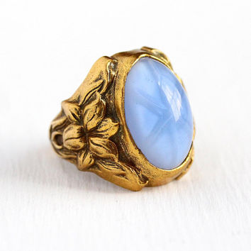 Art Deco Ring - Vintage Brass Tone Simulated Star Sapphire Flower Statement - Size 4 3/4 Oval Blue Cabochon Repousse Floral Uncas Jewelry