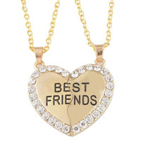 Set of 2 BFF Best Friends Rhinestone Heart Necklaces