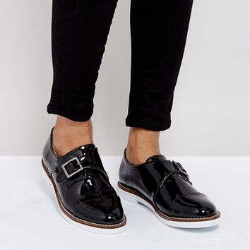 London Rebel Buckle Monk Shoe On White Sole at asos.com