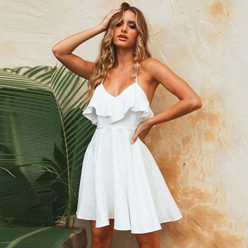 DeRuiLaDy 2018 Women Summer Straps Beach Dress Sexy V Neck Open Back Lace Up Ruffles Mini Dresses Casual White Dress Vestidos