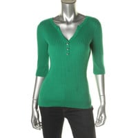 INC Womens Petites Ribbed Knit Elbow Sleeves Henley Sweater