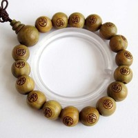 Sandalwood Beads Tibet Buddhist Prayer Bracelet Mala Buddha FO