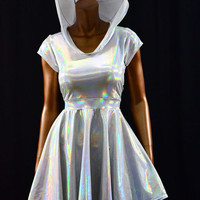 Hooded Silvery White Hologram Holographic Scoop Neck Cap Sleeve Fit and Flare Hoodie Skater Skate Dress Rave Clubwear EDM -E8098