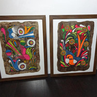 Vintage Mexican Folk Art Amate Paintings on Bark Paper - Colorful Birds and Flowers Folk Art Paintings - Set of 2