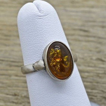 Vintage Sterling Silver Baltic Amber Ring Handmade Size 6.25 925 Jewelry
