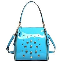 Metallic Rivet Chain Strap Tote Handbag Cross Body Shoulder Bag