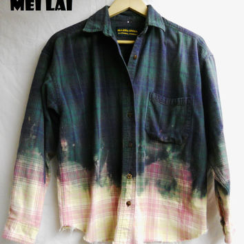 Bleached out Flannel by MeiLai on Etsy