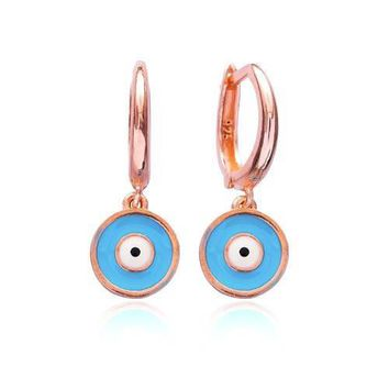 Gold Turquoise ,Navy Blue Round Earring Hoop Dangle 925 Sterling Silver