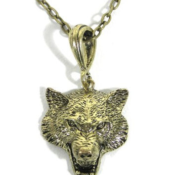 Gray Wolf Necklace Fierce Canine Howl Coyote Gold Tone NK38 Vintage Wildlife Pendant