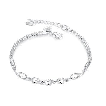 Angel Wing Crystal Heart Collates Women Winter Fashion Bracelets Silver Plated Bangle Brand Fine Jewelry