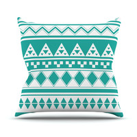 "Belinda Gilles ""Turquoise Aztec"" Teal Green Throw Pillow"