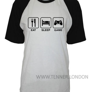 Eat Sleep Game crew neck shirt unisex womens mens ladies  print tshirt repeat play xbox playstation