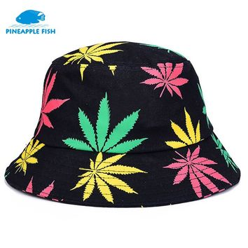 Pineapplefish maple leaf Bucket Hats for Men Panama Women Hat Lovers Beach basin cap Foldable Sun hats Cotton Letter hat