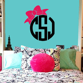 Bow Monogram Wall Decal | Initial Wall Decal | Circle Monogram w/ Bow| Nursery Decal