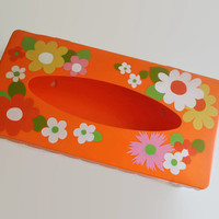 Vintage Tissue Box Holder - 1960s Orange with Colorful Flowers and Scalloped Edge #flowerpower #vintage #orange