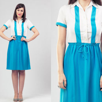 60s Turquoise and White Dress / Accordion Pleated Summer Dress / Preppy Retro Mod Dress