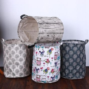 Canvas Dirty Clothes Storage Basket Foldable Kids Toys Organizer Waterproof Laundry Basket Sundries Storage Barrel