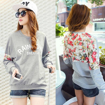 womens Long Sleeve Floral print Casual Sweatshirts Tops outfit = 1920176260